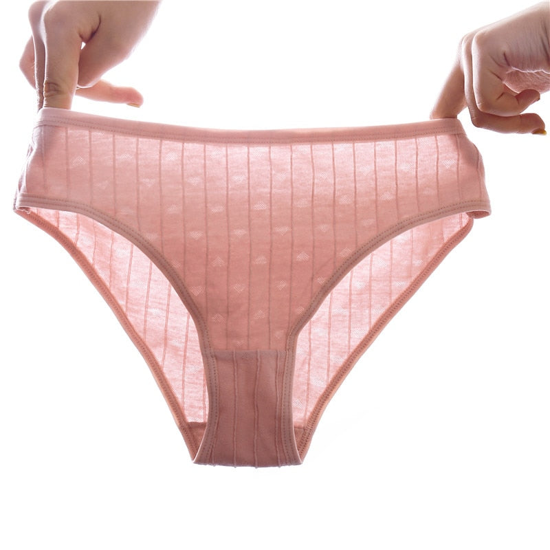Women Breathable Striped Sexy Briefs  3Pcs Set - asheers4u