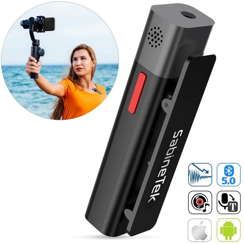 SmartMike+ Wireless Stereo Microphone for Content Creators Camera Youtuber Recording - asheers4u