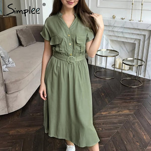 Elegant V-neck with Waist Belt Casual women Dress - asheers4u