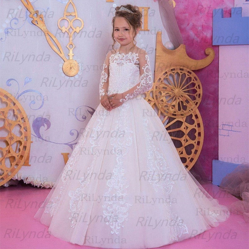 Girls Floral Beaded Evening Party Wedding Gowns - asheers4u