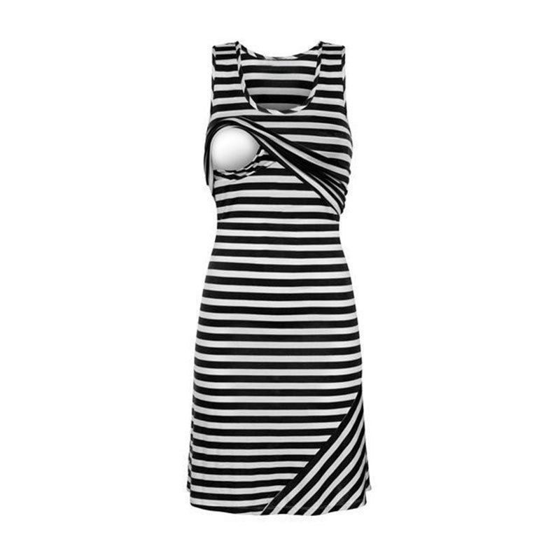 Sleeveless Loose Striped Nursing Long Dresses for Women - asheers4u