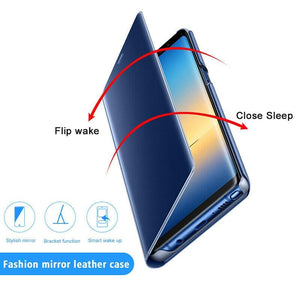 Smart Mirror View Flip Phone Case For Samsung Galaxy Protective Cover - asheers4u