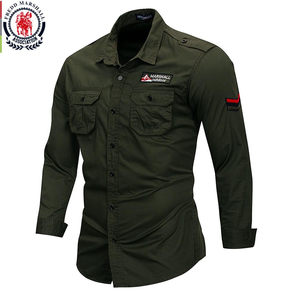 Men Long Sleeve 100% Cotton Army Style Shirts - asheers4u