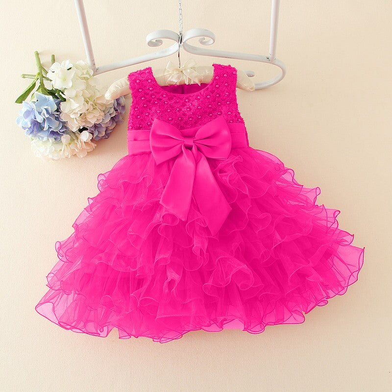 Designer Lace floral Dress for 3M to 2 years baby girl birthday - asheers4u