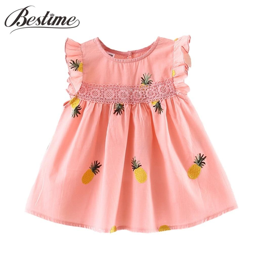 Frill Sleeve Newborn Infant Cotton Pineapple Dresses - asheers4u