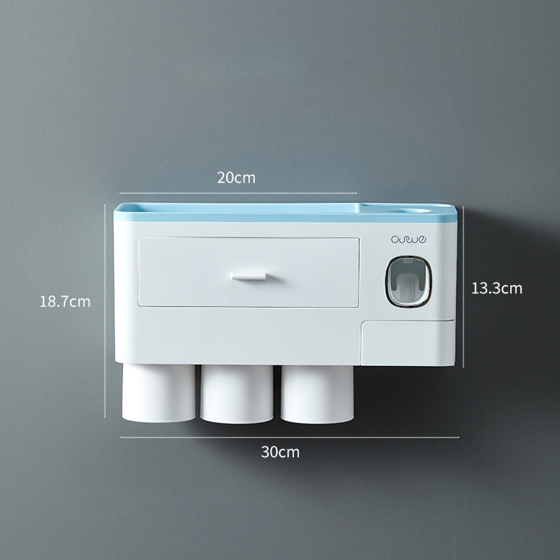 Wall Mount Automatic Toothpaste Dispenser & Toothbrush Holder With Cup - asheers4u