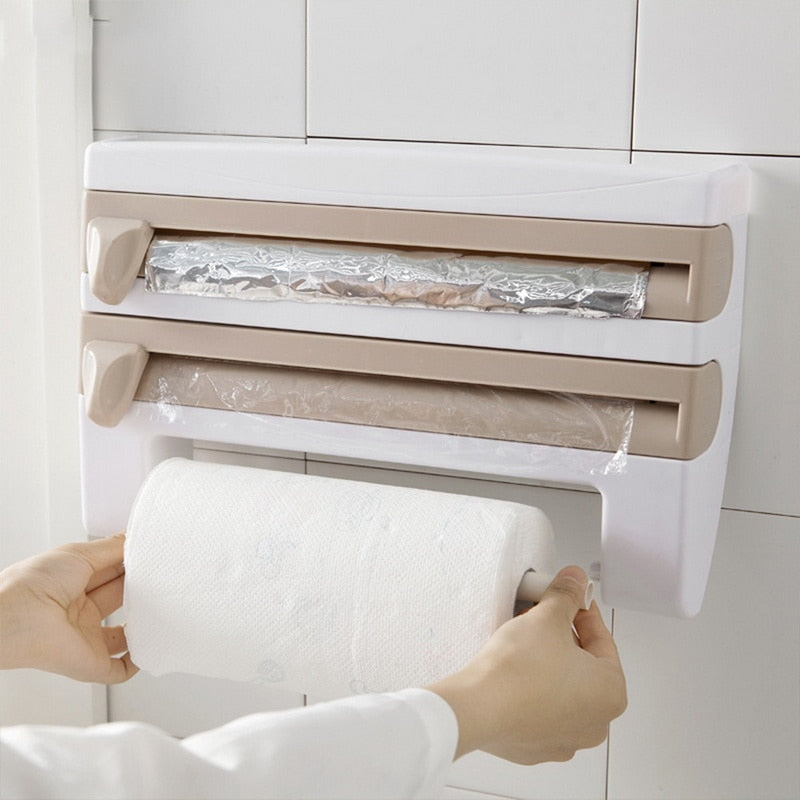 Kitchen Cling Film Storage Rack Wrap Cutter Refrigerator Wall Hanging Paper Towel Holder Multifunction Home Organizer