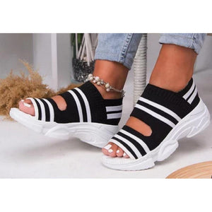 Lightweight Summer Women Knitted Open Toe Wedges Sneakers - asheers4u