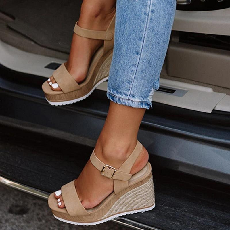 Casual Ankle-strap Woman Sandals with Comfortable High Heels Wedges - asheers4u