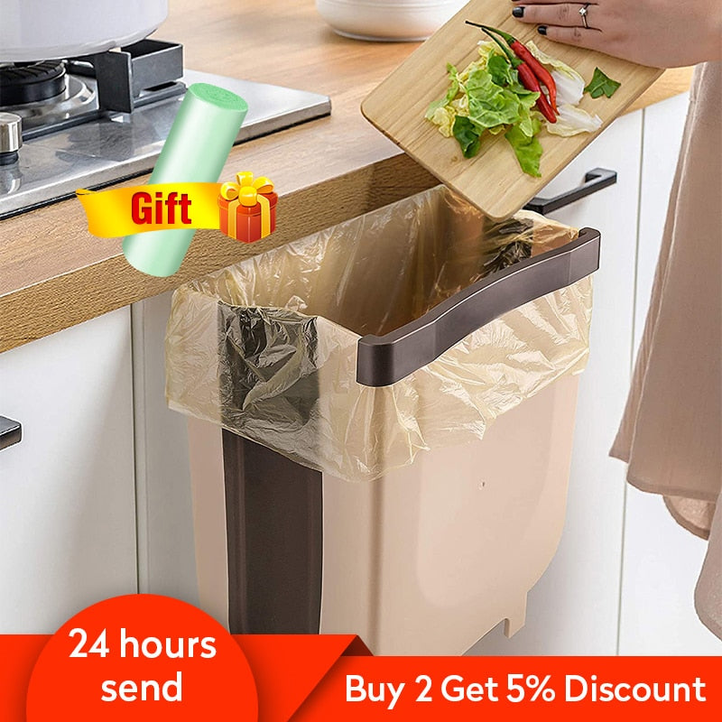 Kitchen Folding Trash Can Car Recycle Bin Trash Bin Kitchen Dustbin Garbage Rubbish Bin Garbage Can Waste Bin For Kitchen