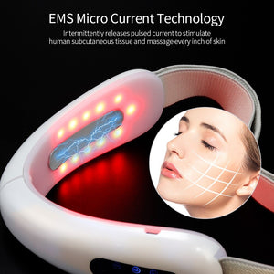 Chin V-Line Up Lift Belt Machine Red Blue LED Photon Therapy Facial Lifting Device Face Slimming Galvanic Massager V-Face Care - asheers4u