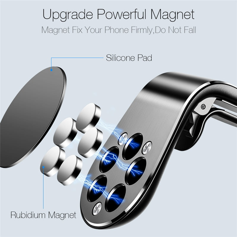 Magnetic Car phone Holder Stand For xiaomi redmi note 5a mi note 8 360 Metal Air vent Magnetic Holder in Car GPS Mount Holder