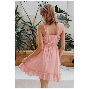 Sexy v-neck spaghetti strap Casual women short sundress - asheers4u