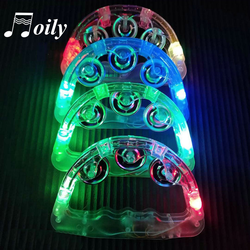 Hand Held Flashing Tambourine with Led lights Party Bar for Kids - asheers4u