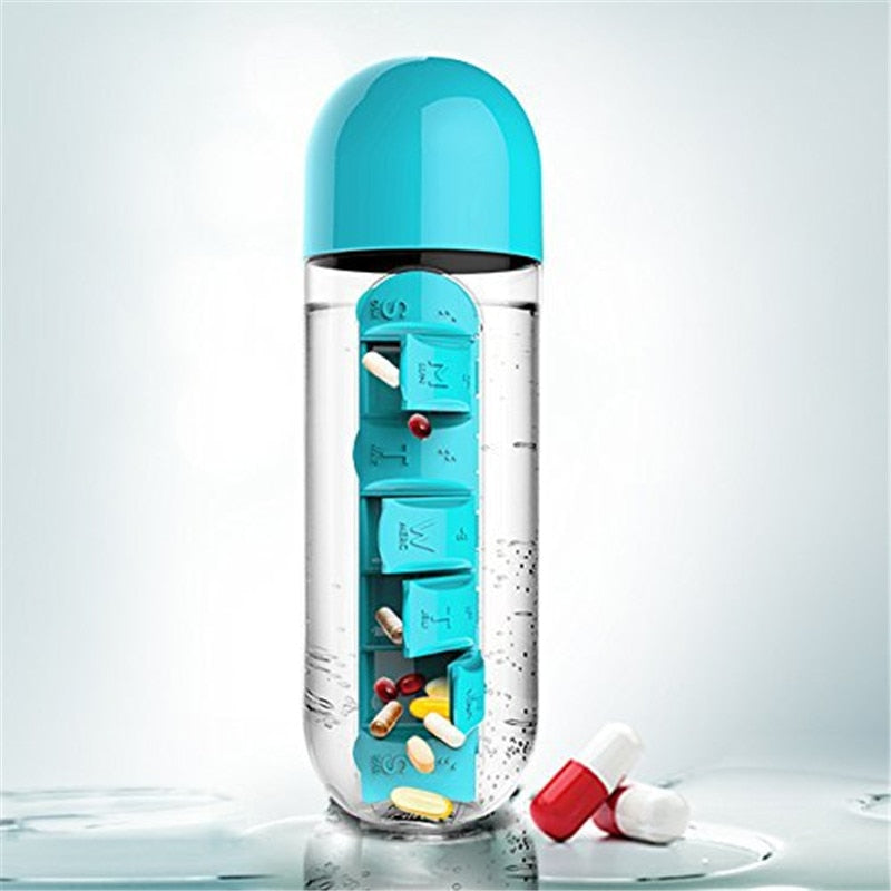 Sports Water Bottle with 7 Days Pills Compartment - asheers4u