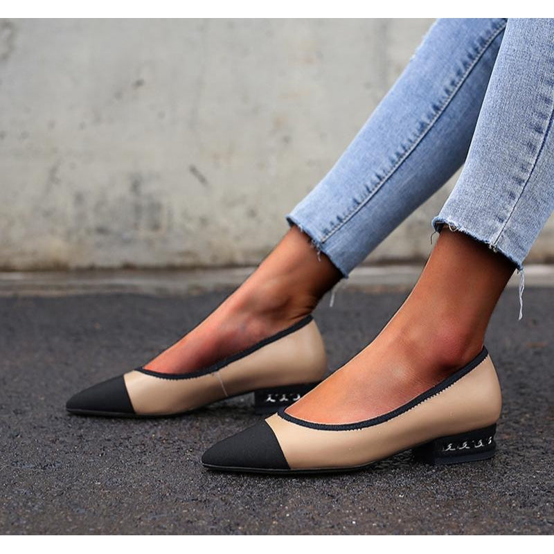 Karinluna Hot Sale Wholesale Large Size 34-40 Cow Leather Pointed Toe Slip On Pumps Woman Shoes Women Office Lady Pumps
