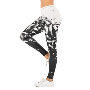 Love Peace Women Leggings with leaf Printing Fitness leggins - asheers4u