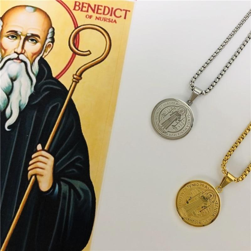 Catholic Christian Saint Benedict Pendant Necklace - asheers4u