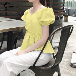 Celmia Stylish Women Summer Tops - asheers4u