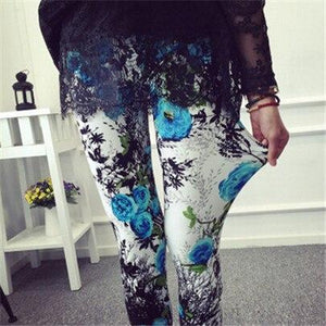 Fashion Plaid Floral Stripe High Waist Legging Pants - asheers4u