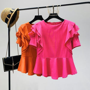 Doll Short Butterfly Sleeve Causal Ruffle - asheers4u