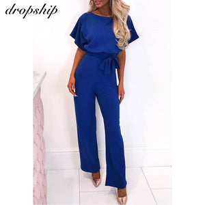 Streetwear Plus Size Romper Spring Summer Lace-up Short Sleeve Women Jumpsuits - asheers4u