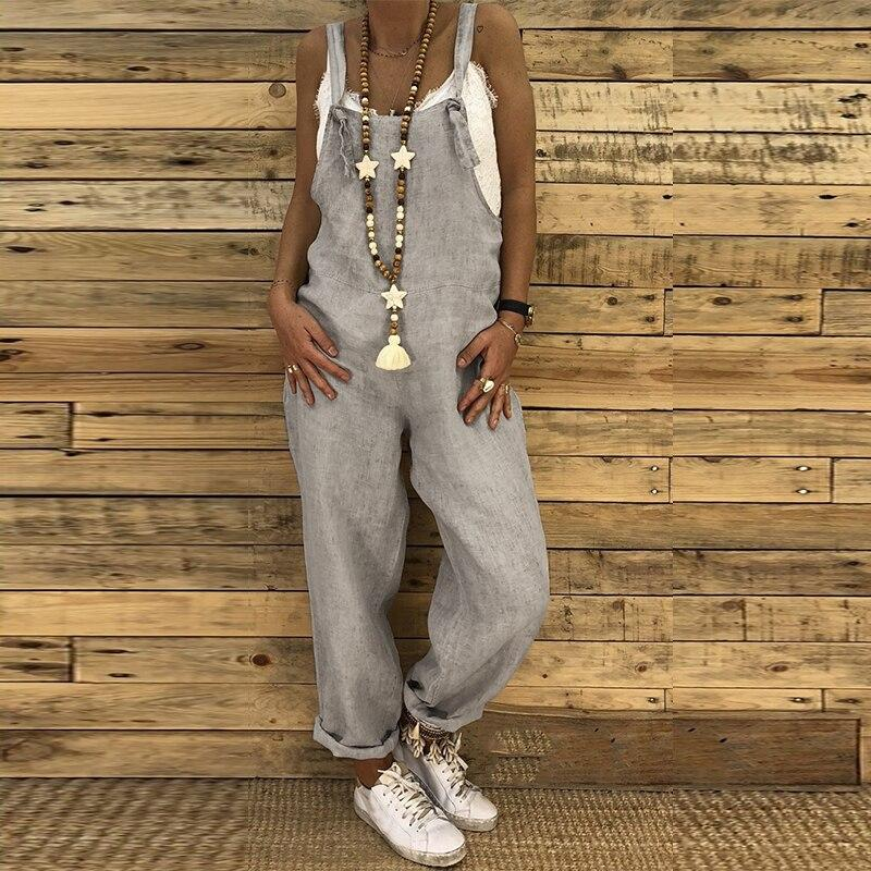 Linen Women Jumpsuit Sexy Sleeveless Loose Casual Lace Up Strapy Adjust Dungarees Romper - asheers4u