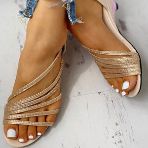 Gladiator Slip On Wedges Sandals - asheers4u