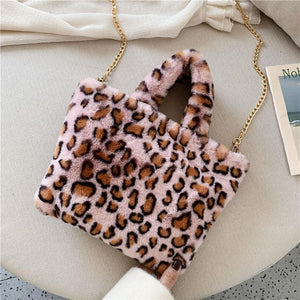 Leopard Fur Design Style Shoulder Bag with Long Chain - asheers4u