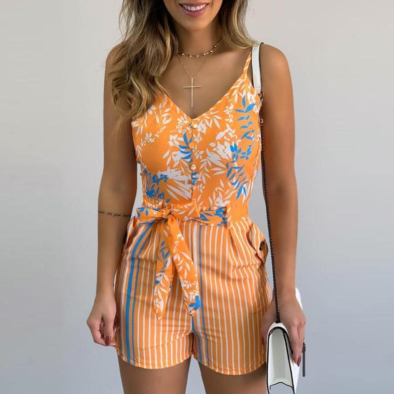 M Size Jumpsuit V-neck Floral Print Beach Romper-asheers4u-04 Orange-M-asheers4u