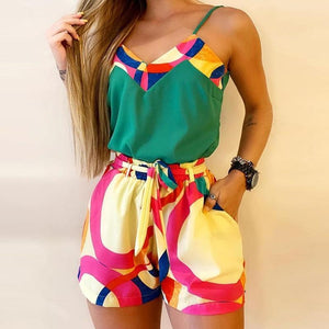 M Size Jumpsuit V-neck Floral Print Beach Romper-asheers4u-14 Multicolor Sets-M-asheers4u