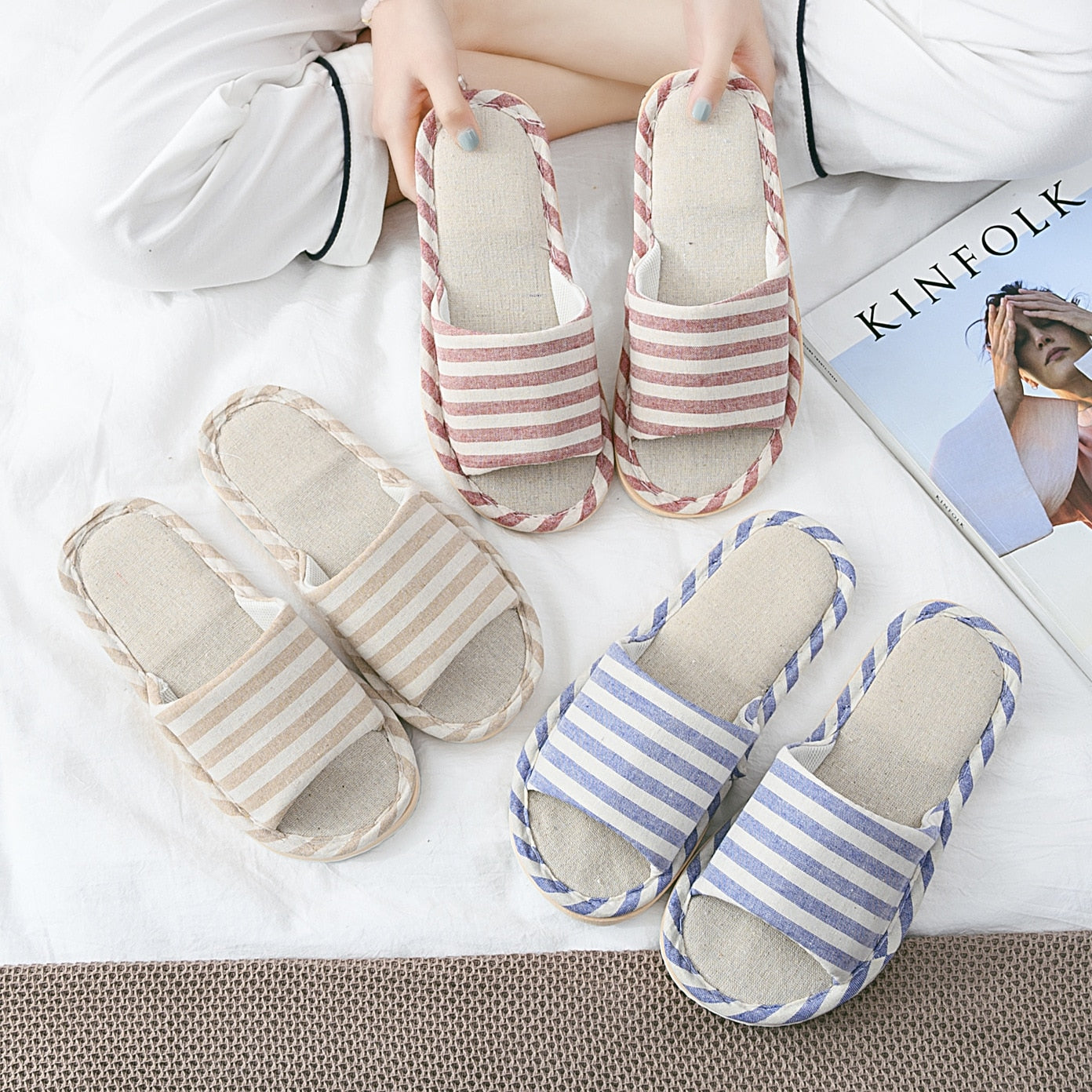 Striped couple home slippers - asheers4u