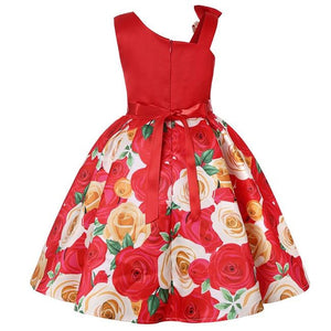 Girls Floral Print Satin Wedding Birthday Party Bows Frocks - asheers4u