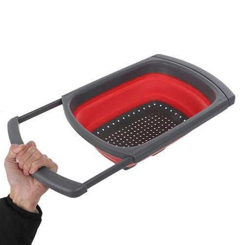 Over The Sink Retractable Colander With Handle Kitchen Folding Strainer Bowls - asheers4u