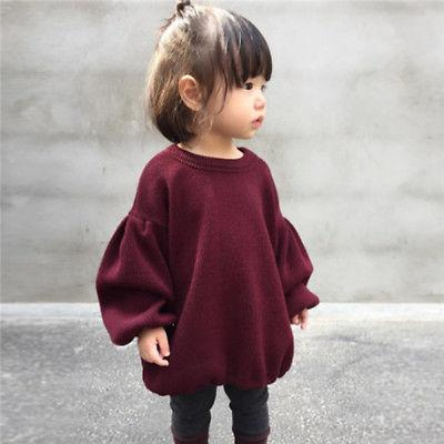 Wine Red Kids Baby Girls Casual Lantern Long Sleeve Tops 1-6y - asheers4u