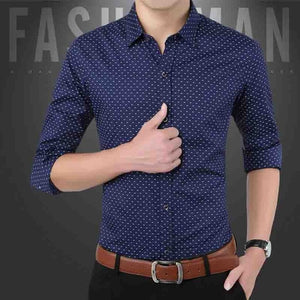 Slim Fit Men's Casual Button Down Shirt Long Sleeve Formal Dress - asheers4u