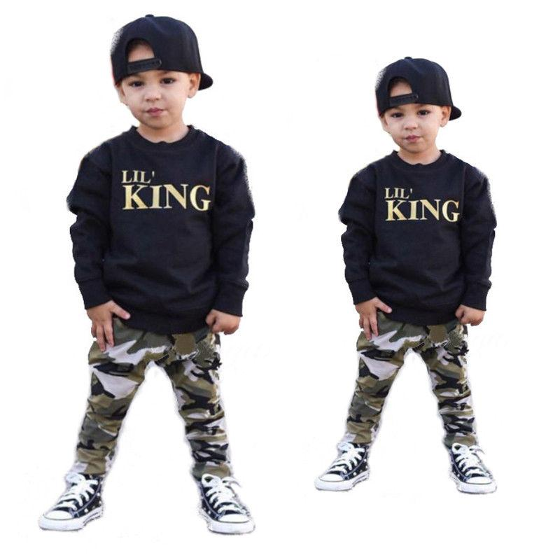 T shirt Tops+Camouflage Pants toddler boys clothing set - asheers4u