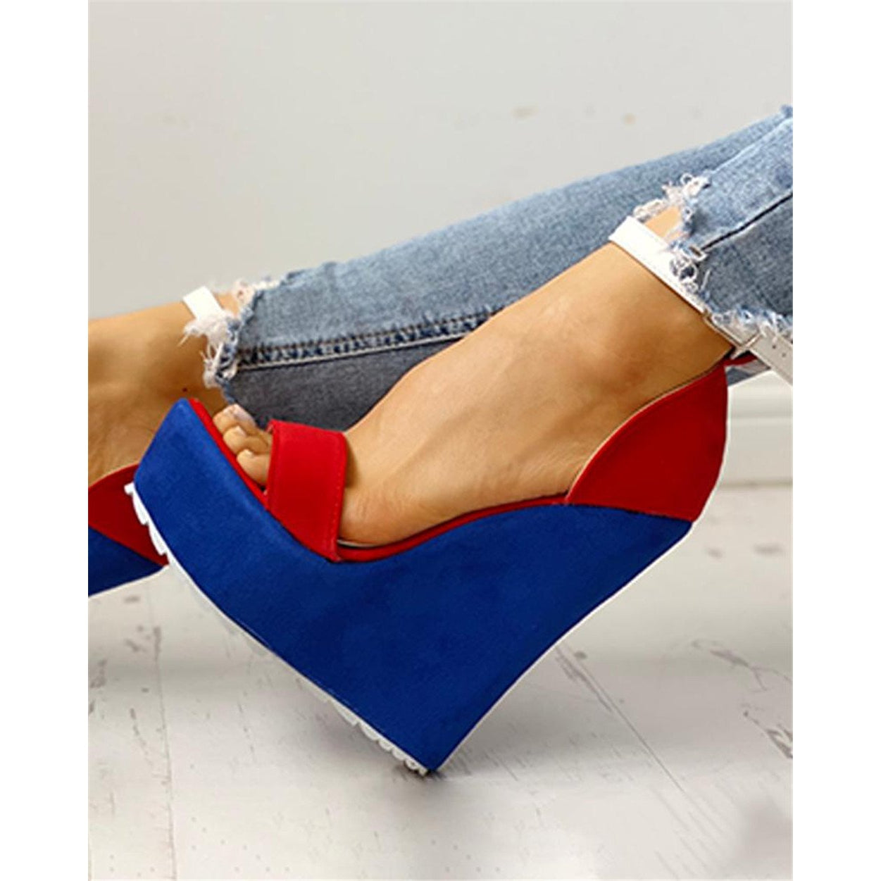 Red Blue High Heel Wedges - asheers4u