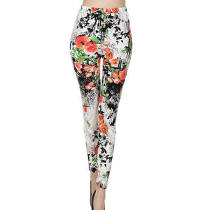 S Size Graffiti Floral Patterned Print Vintage Women Leggings - asheers4u