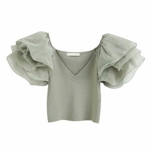 Semi-sheer Organza Sleeve Top Women V Neck Summer Knit Top - asheers4u
