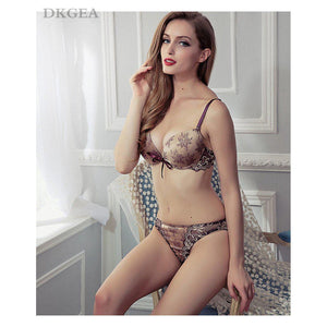 Sexy Lingerie Embroidery Lace Bra Set Cotton Thick - asheers4u