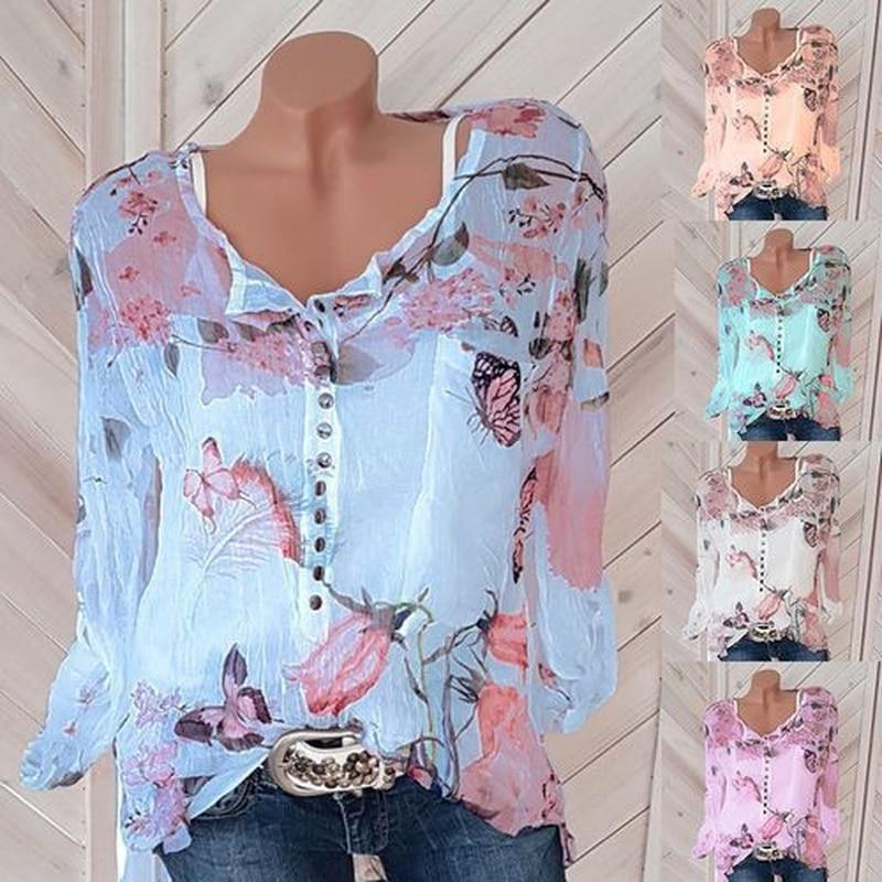 Sexy V Neck Button Chiffon Sleeveless Printed Shirts - asheers4u