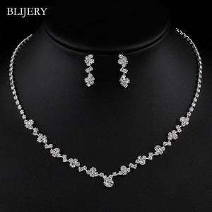 Silver Color Geometric Choker Necklace Earrings Bracelet Wedding Jewelry Sets - asheers4u