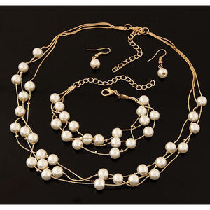 Simulated Pearl Double Layer Women Earrings Necklace Bracelet Sets for Wedding - asheers4u