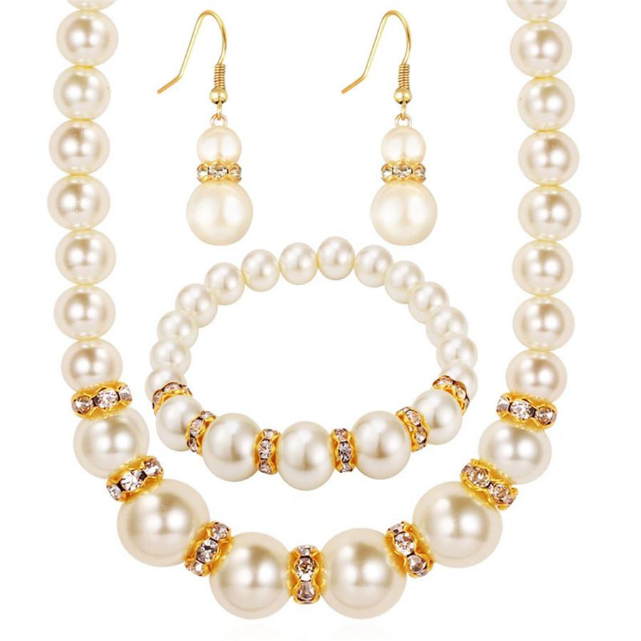 Simulated-Pearl Necklace Bracelet Earrings Women Jewelry Sets - asheers4u