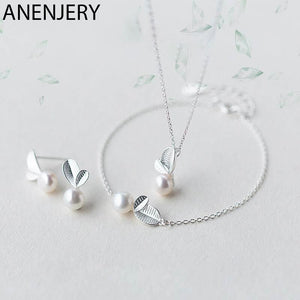 Sterling Silver Bud Leaf Simulated Pearl Necklace+Earrings+Bracelet - asheers4u