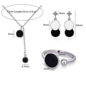 Sterling Silver Epoxy Black Round Wafer Necklace+Earrings+Ring For Women Korean Jewelry - asheers4u