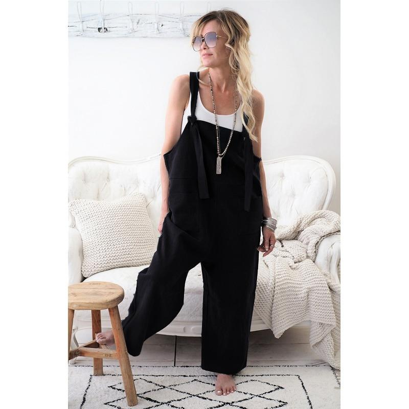 Cotton Linen High Quality Jumpsuit Loose Rompers Casual Overalls Strap - asheers4u
