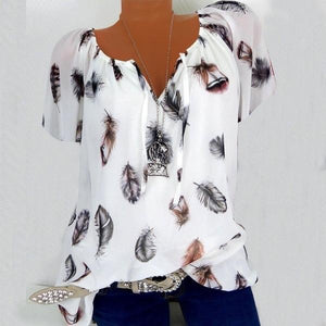 Summer Tops New Leisure Blouse White Loose Feather Print V Neck - asheers4u
