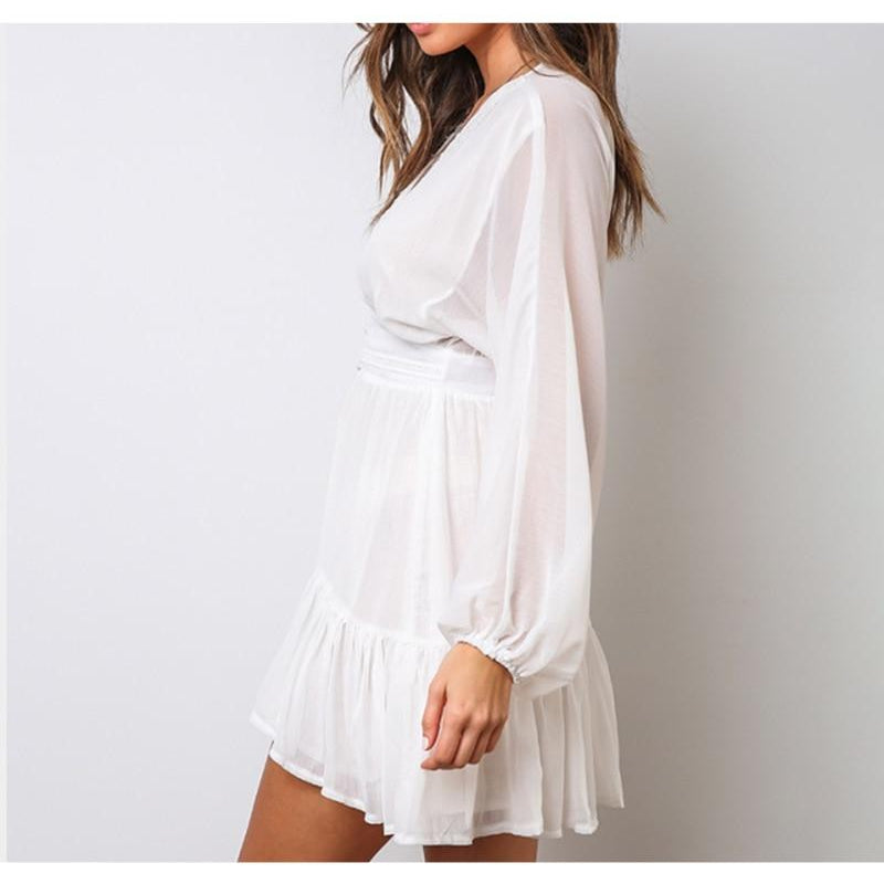 White Lace Mini Party Dress - asheers4u